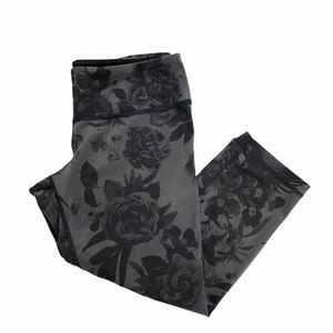 Lululemon Dark Gray Black Floral Crop Pant 10